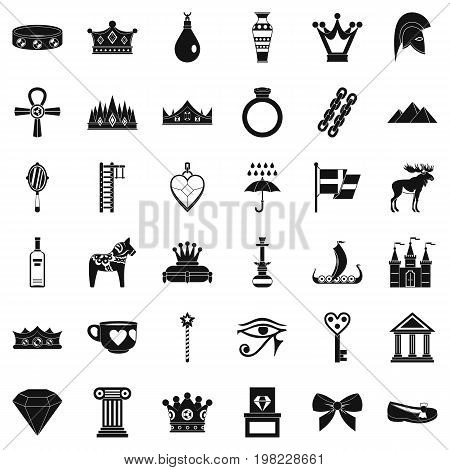 Amulet icons set. Simple style of 36 amulet vector icons for web isolated on white background