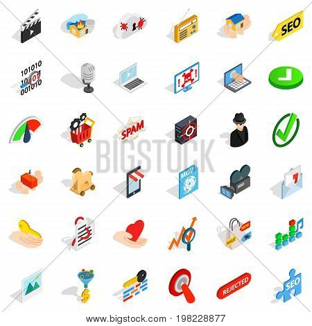 Cyber protection icons set. Isometric style of 36 cyber protection vector icons for web isolated on white background