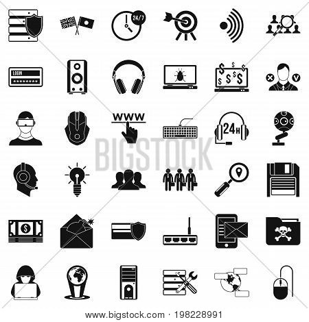 Money crime icons set. Simple style of 36 money crime vector icons for web isolated on white background