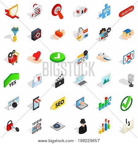 Safety cyber icons set. Isometric style of 36 safety cyber vector icons for web isolated on white background