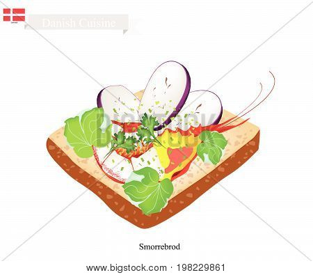 Danish Cuisine, Illustration of Smorrebrod or Traditional Buttered Rye Bread or Dark Rye Bread Topped with Shrimp and Slice Eggplant and Herbs. The National Dish of Denmark.