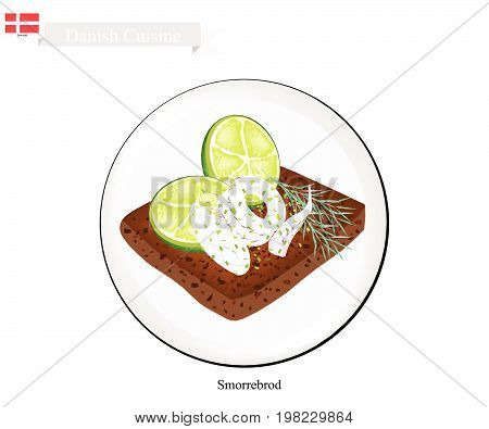 Danish Cuisine, Illustration of Smorrebrod or Traditional Buttered Rye Bread or Dark Rye Bread Topped with Squid and Slice of Lemon and Fresh Dill. The National Dish of Denmark.