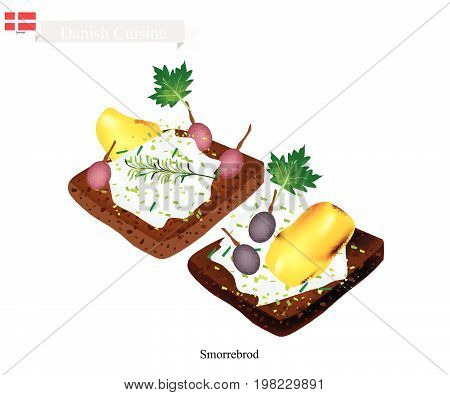 Danish Cuisine, Illustration of Smorrebrod or Traditional Buttered Rye Bread or Dark Rye Bread Topped with Roast Chicken, Fresh Dill, Pickled Olive and Tartar Sauce. The National Dish of Denmark.