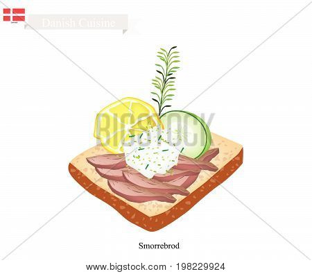 Danish Cuisine, Illustration of Smorrebrod or Traditional Buttered Rye Bread or Dark Rye Bread Topped with Roast Beef, Tartar Sauce, Slice Lemon and Cucumber. The National Dish of Denmark.