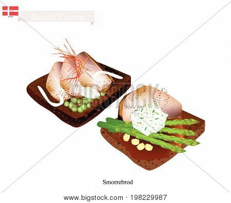 Danish Cuisine, Illustration of Smorrebrod or Traditional Buttered Rye Bread or Dark Rye Bread Topped with Roast Beef, Tartar Sauce, Snow Peas and Asparagus. The National Dish of Denmark.