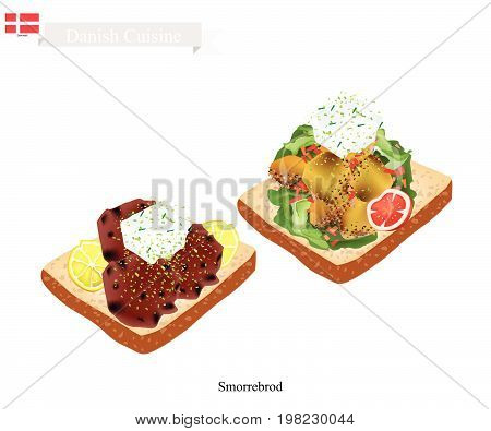 Danish Cuisine, Illustration of Smorrebrod or Traditional Buttered Rye Bread or Dark Rye Bread Topped with Roast Pork and Tartar Sauce. The National Dish of Denmark.