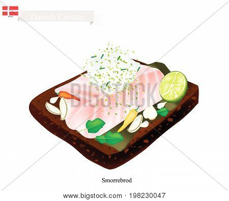 Danish Cuisine, Illustration of Smorrebrod or Traditional Buttered Rye Bread or Dark Rye Bread Topped with Steamed White Fish and Tartar Sauce. The National Dish of Denmark.