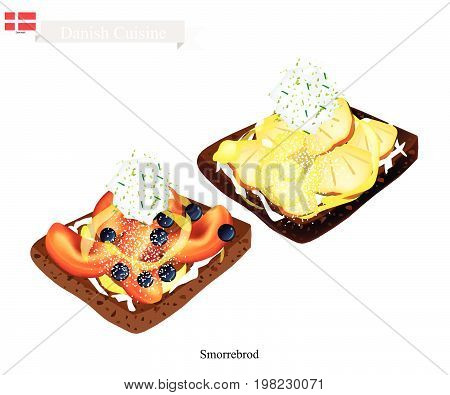 Danish Cuisine, Illustration of Smorrebrod or Traditional Buttered Rye Bread or Dark Rye Bread Topped with Peach and Pineapple. The National Dish of Denmark.
