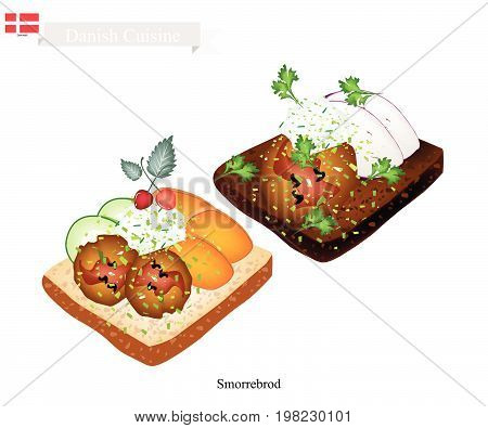 Danish Cuisine, Illustration of Smorrebrod or Traditional Buttered Rye Bread or Dark Rye Bread Topped with Meatball, Tartar Sauce, Vegetable and Fruit. The National Dish of Denmark.