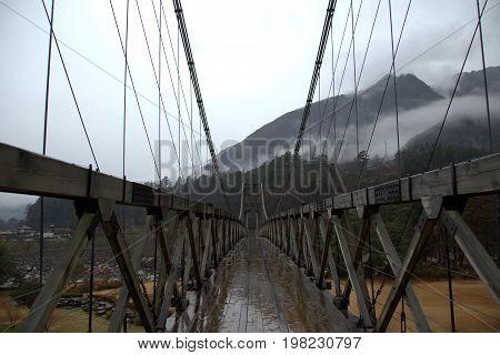 Looking across the Tosuke Bridge in Nagiso Nagano Prefecture Japan.