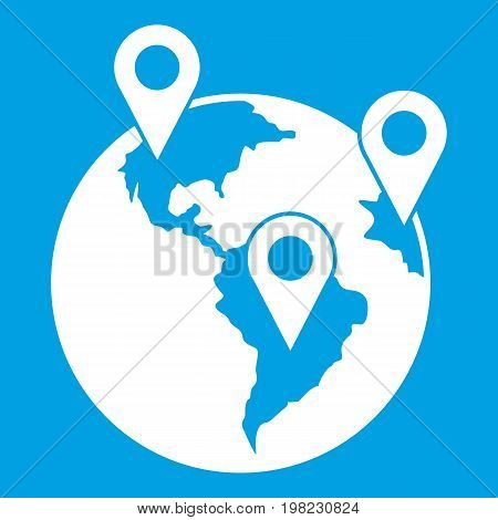 Globe and map pointers icon white isolated on blue background vector illustration