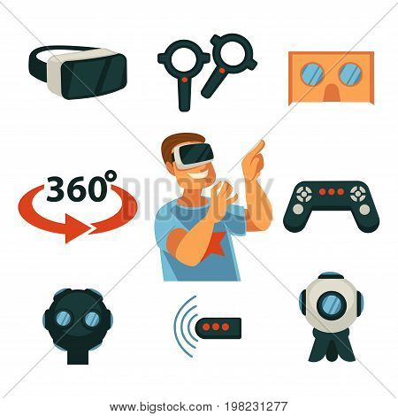 Virtual Reality or 360 VR game device and gadget. Internet gamer boy in 3D cardboard glasses, gamepad controller joystick and wireless smartphone camera for user experience. Vector flat isolated icons