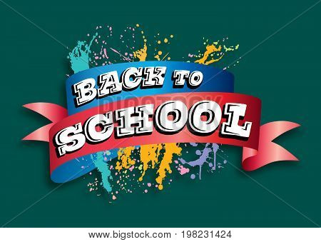A vector ribbon banner headline with ink splashes for a back to school theme