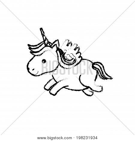 figure cute unicorn with horn and wings design vecto illustration