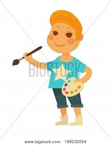 Little redhead boy in T-shirt with star, denim shorts and stylish sneakers stands with palette and brush in hands isolated cartoon vector illustration on white background. Child interested in art.