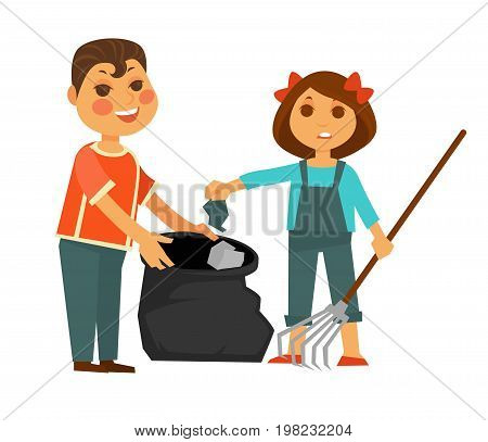 Boy in bright T-shirt and girl in denim overalls with bows in hair take away rubbish into garbage bag with help of rake isolated vector illustration on white background. Children clean up mess.