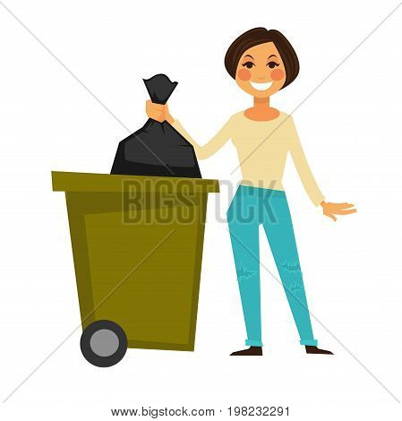 Cheerful brunette woman in ripped jeans throws away garbage bag in special trash bucket isolated vector illustration on white background. Female character maintains good ecological environment.