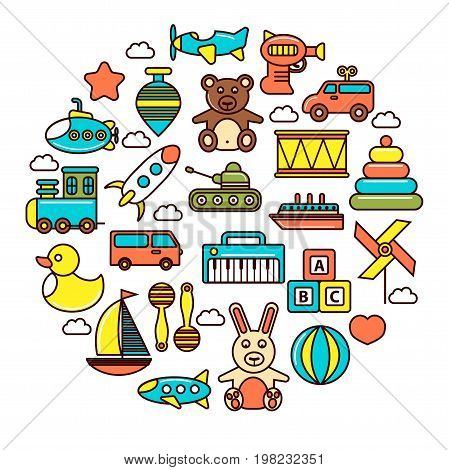 Kid toys and children playthings for kindergarten girls and boys. Vector isolated icons set of ball, doll or car and bear with rabbit and cat, ship or gun and rocket with tank