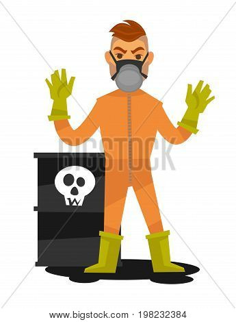 Man in special overalls and mask stands beside container with skull on it and radioactive substance inside isolated vector illustration on white background. Male character gets rid of harmful wastes.