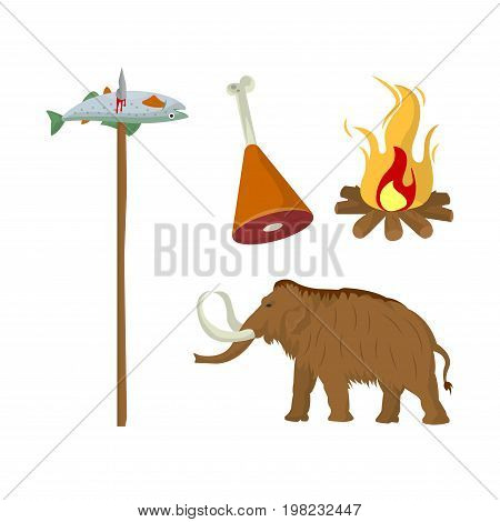 Fish caught on wooden stick, meat on animal leg, mammoth and burning campfire with flame set of vector illustrations isolated on white background. Collection of food products in stone age epoch