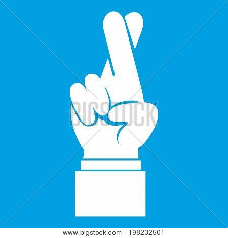 Fingers crossed icon white isolated on blue background vector illustration