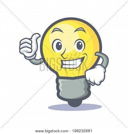 Proud light bulb character cartoon vector illustration