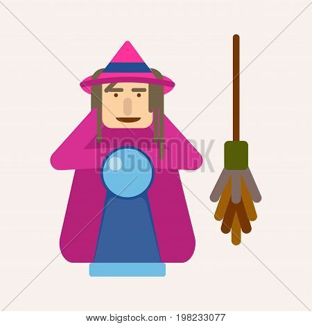 Evil witch with ball of predictions and broom vector isolated illustration. Fairy tale character with magical equipment, mystery lady in carnival dress with broomstick, female in halloween concept