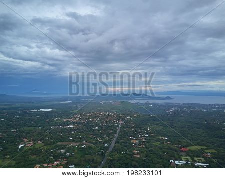 Panorama of managua city in Nicaragua. NIcaragua central america landscape