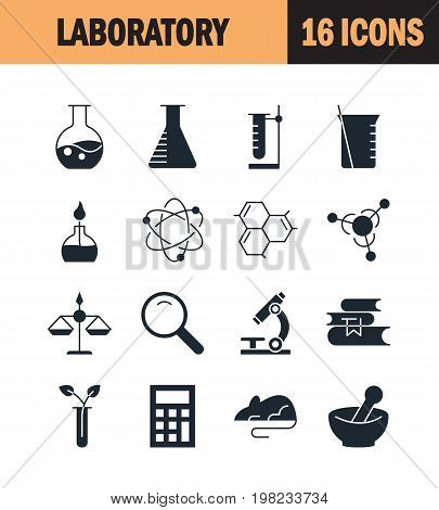 Laboratory icon set. Collection of science silhouette icons. 16 high quality logo of lab on white background. Pack of symbols for design website, mobile app, printed material, etc.