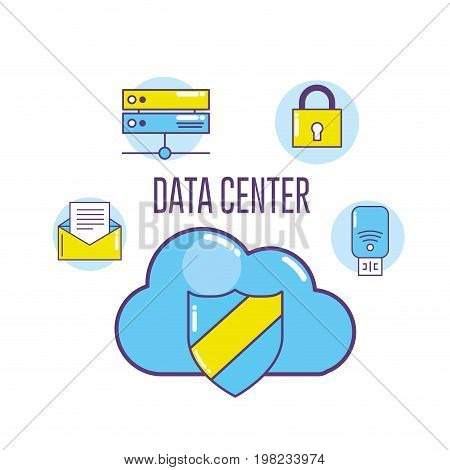 technology banner data center connecting vector illustration
