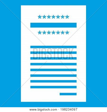 Sales printed receipt icon white isolated on blue background vector illustration