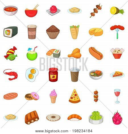 Delicious meal icons set. Cartoon style of 36 delicious meal vector icons for web isolated on white background