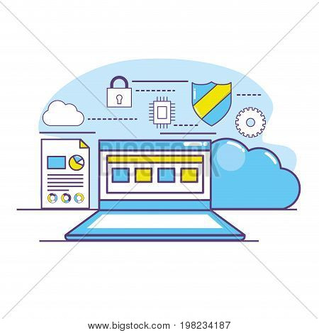 laptop technology with data center system vector illustration