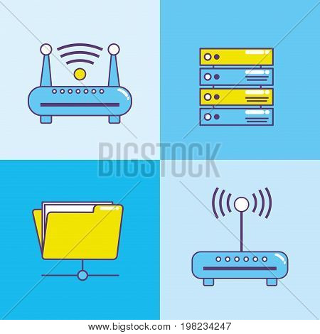 set technology data center connection vector illustration