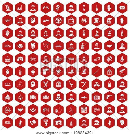 100 human resources icons set in red hexagon isolated vector illustration
