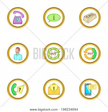 Support service icons set. Cartoon set of 9 support service vector icons for web isolated on white background