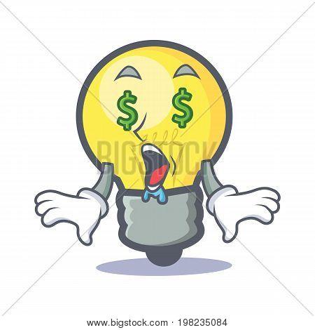 Money eye light bulb character cartoon vector illustration