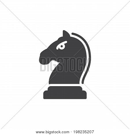 Horse, Knight piece in chess game icon vector, filled flat sign, solid pictogram isolated on white. Strategy symbol, logo illustration. Pixel perfect vector graphics