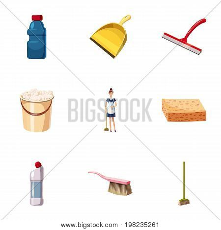Cleaning equipment icons set. Cartoon set of 9 cleaning equipment vector icons for web isolated on white background