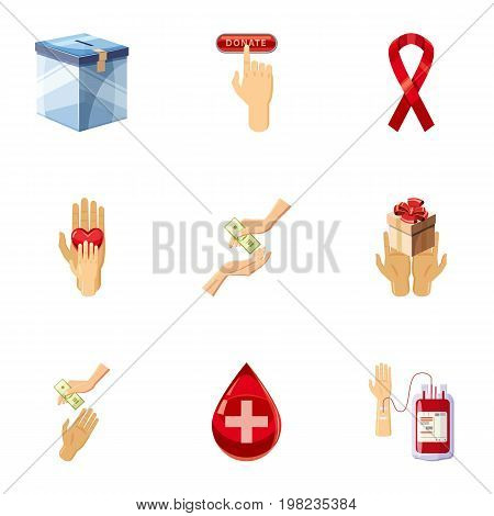Donor donation icons set. Cartoon set of 9 donor donation vector icons for web isolated on white background