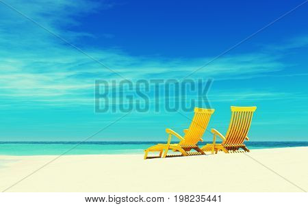 Two wooden chairs on the seashore. This is a 3d render illustration