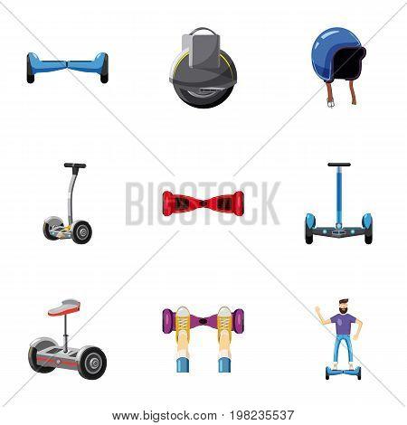 Trendy vehicle icons set. Cartoon set of 9 trendy vehicle vector icons for web isolated on white background