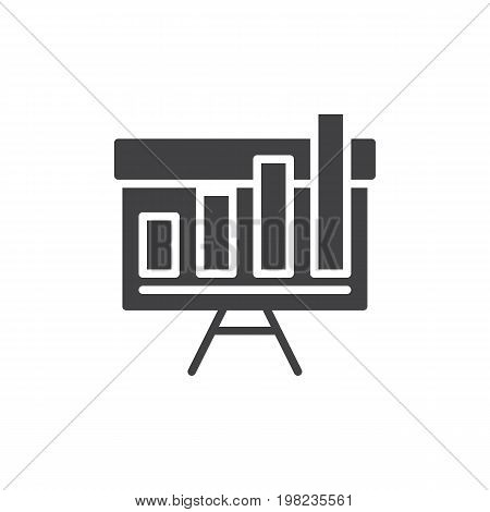 Growing bar chart on whiteboard icon vector, filled flat sign, solid pictogram isolated on white. Symbol, logo illustration. Pixel perfect vector graphics
