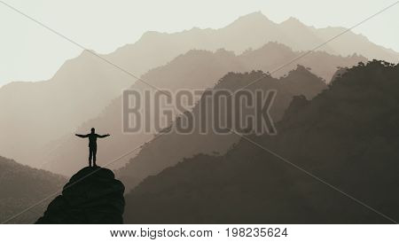 Hiker on the top of a mountain admiring the landscape. This is a 3d render illustration