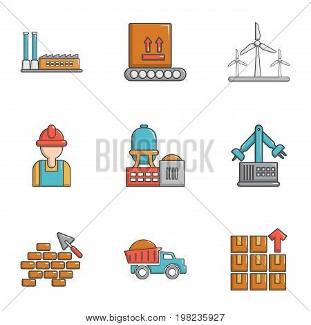 Build industry icons set. Cartoon set of 9 build industry vector icons for web isolated on white background