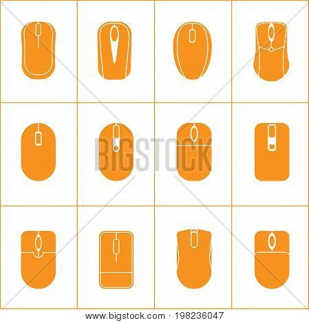 12 Computer Mouse Icon. vector solid icon. Vector Illustration.
