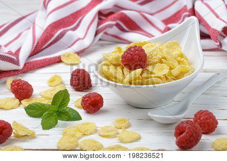 Cornflakes With Fresh Raspberries. Healthy Breakfast. Selective Focus