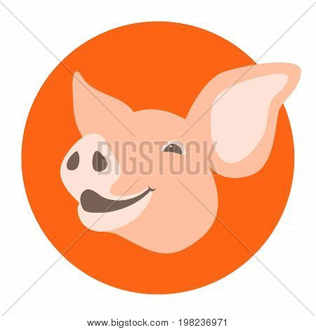pig head vector illustration style flat profile side