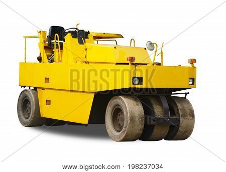 Old Yellow Steamroller Isolated On White Background. This Has Clipping Path.
