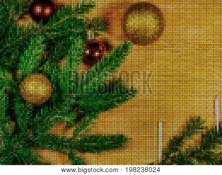 Illustration. Cross stitch. New Year 2018. Composition with spruce branches bright sparkling balls and candles on a wooden background.